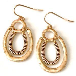 Gold Tone hammered dangle drop earrings